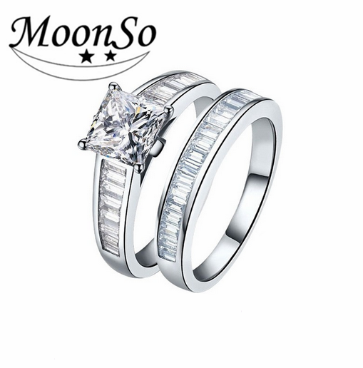 Fashion Jewelry New Design 925 Sterling Silver Ring Engagement Wedding Ring set AR1927S
