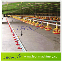 LEON Automatic poultry broiler feed pan nipple drinking system in chicken farm turkey house
