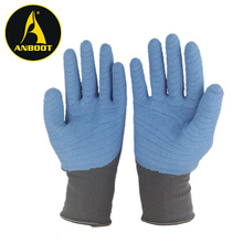 3/4 dipped blue wrinkling Latex Coated polyester/Nylon Knitted work Gloves