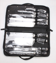 New designed 9 pcs kitchen knife set with bag/hollow handle coating TPR handle knife