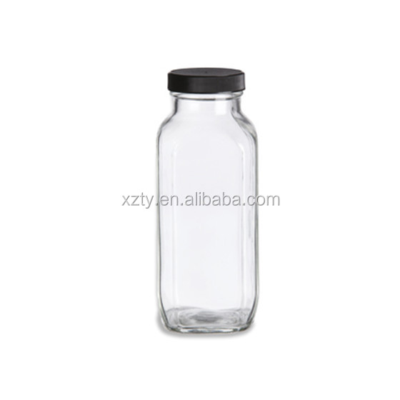 16oz french square glass bottle with cap