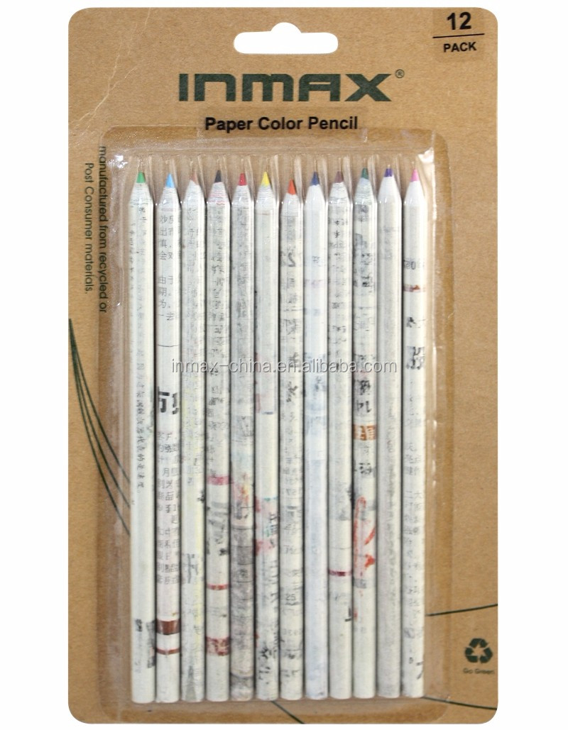7'' recycled newspaper pencil color set