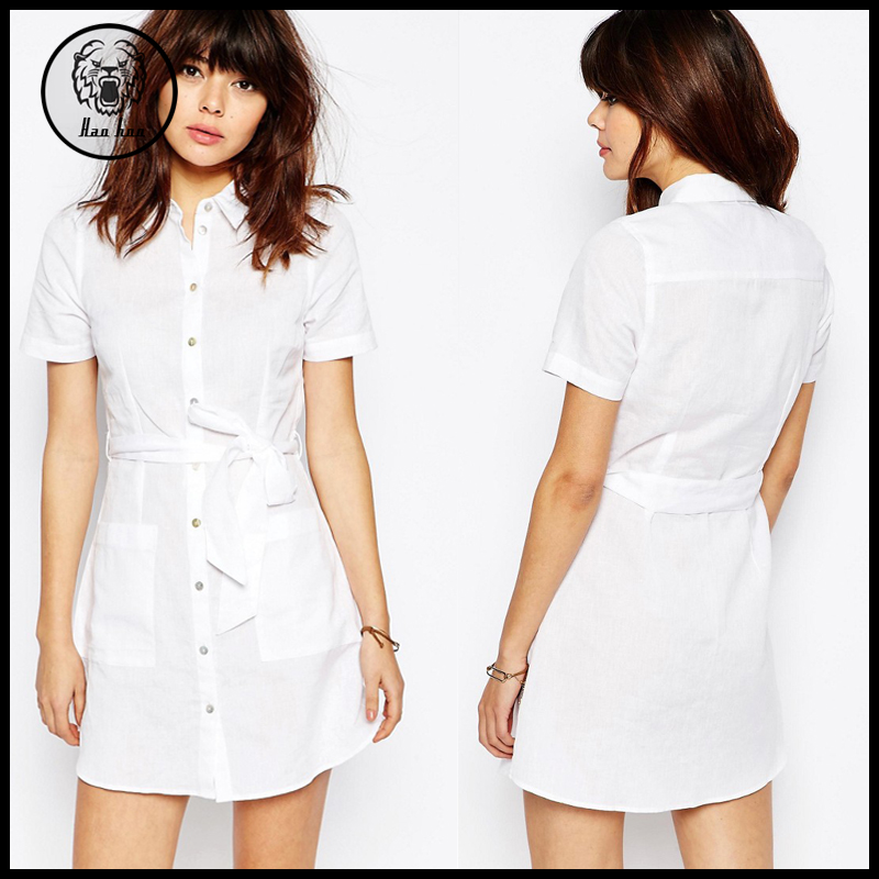 2016 summer women sexy short sleeve white linen shirt Buy white dress shirt