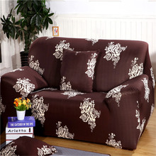 UNIKEA Brown Polyester Elastic Sofa Cover Printed Floral Sofa Cover For Sectional Sofa Couch Cover Machine Washable