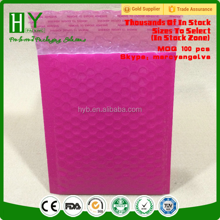 Biodegradable Manufacturer poly wholesale poly bubble mailers pink