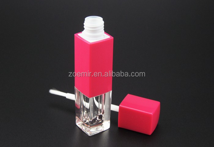 High standard empty plastic square eyelienr container with injection red