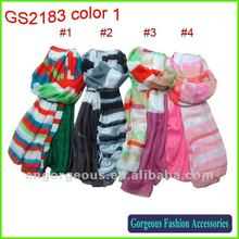 2012 Fashion new design wholesale polyester scarf with striped print