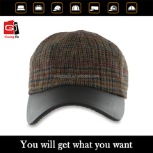 6 Panel leather brim custom promotional baseball cap/Sports cap wholesale for man
