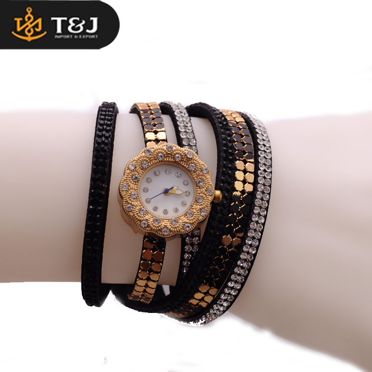 Black Bands Diamond Crystal Inlaid Fashion Jewelry Women Wrist Watch
