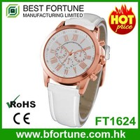 FT1624 Hot selling trendy alloy case leather strap women elegant multifunction watch