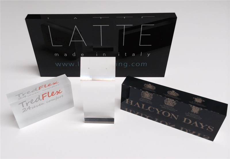 retail counter top advertising company acrylic logo block/ acrylic block display/ acrylic block