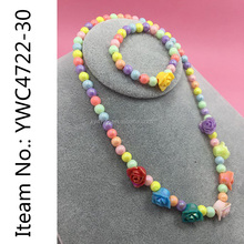 jewelry factory direct kids Necklace set kids Jewelry set Wholesale Jewelry Green kids beads Necklace Set Children's jewelry