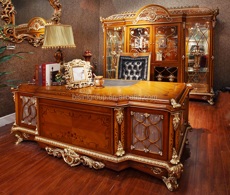 Luxury High End Custom Made CEO Office Writing Table with Classic Library Bibliotheque and Swivel Chair BF12-07294b