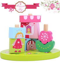 Fairytale Oval Princess Garden Series Pink Wooden Blocks Building Toy for Girls