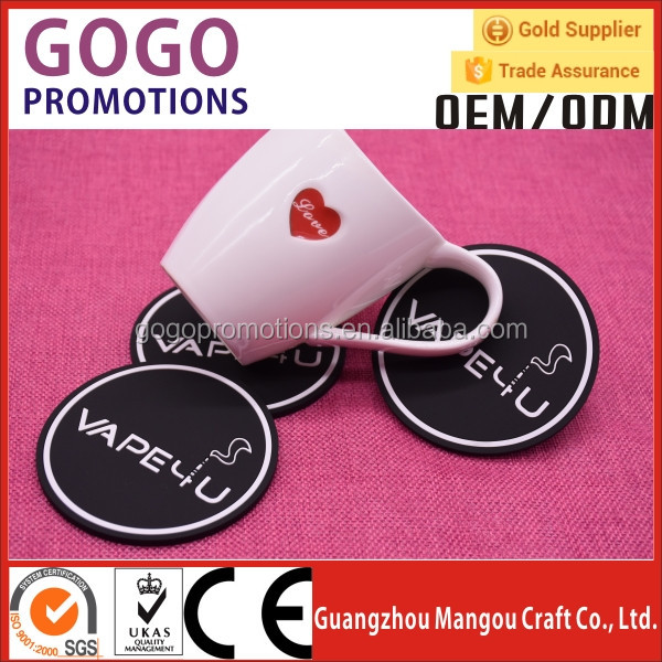 2017 New design promotional gifts Eco-friendly material 2D/3D soft pvc tea cup coaster with embossed logo
