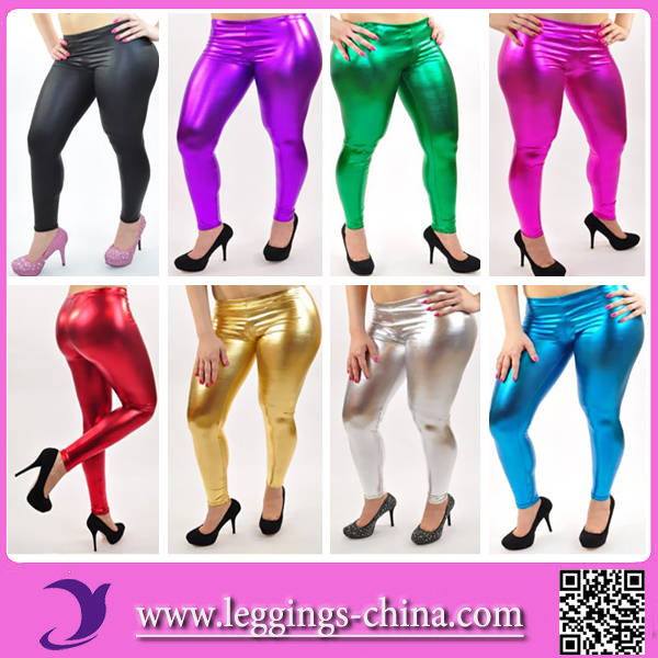 2016 FGGY002 Sexy Metallic Mat Colored Silver Brand Shiny Latex Rubber Leggings