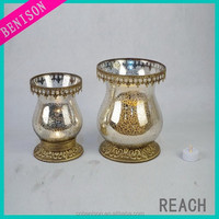 set of 3 Unique Mercury Tealight Glass Pillar Candle Holder