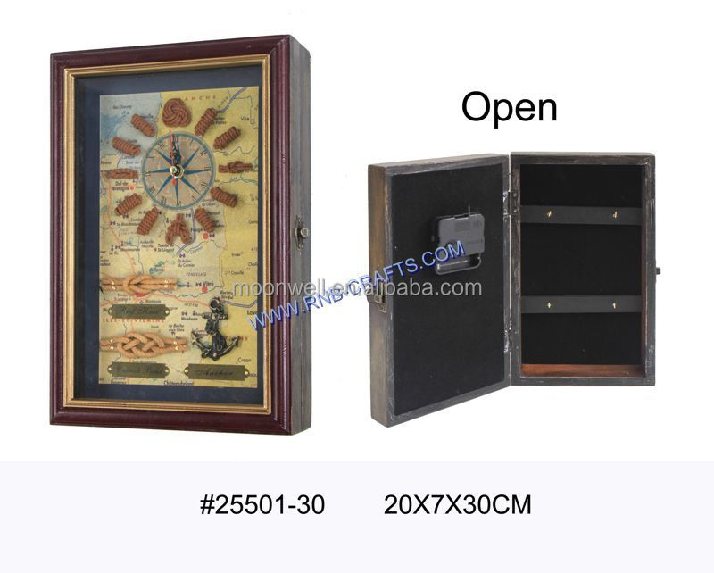 Wooden key box,Shadow box,Window box,with clock,Nautical key cabinet,Gifts,Souvenir,Handicrafts,Decor,Crafts,Home Decoration