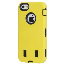 Yellow Silicone 2in1 Hard Matte Case For iPhone 5