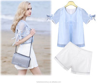 2015 new fashion suit organza blouse chiffon shirt fashion casual pants two piece suits