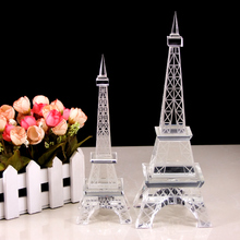 French Romantic Paris Eiffel Crystal Tower Buildings Statue Home Office Gift