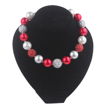 Imitation Pearl Prismy Red Fireball Beads Children Jewelry Girls Chunky Bubblegum Necklaces