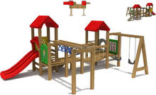 eco-friendly outdoor wooden playground for kids play center