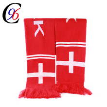Embroidered football fan jacquard knitted scarf