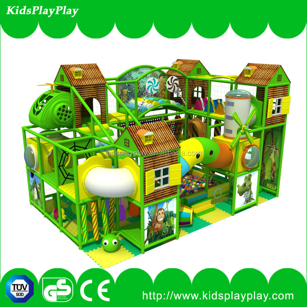 Cheap indoor playground equipment for kids with playhouse
