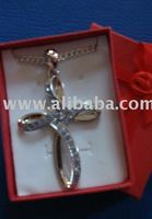 Large Cross Crystal Pendants with silver chain