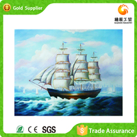 Free sample indoor decoration diy acrylic diamond abstract boat oil painting