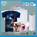 High quality custom printing light dark sublimation paper wholesale cheap self cutting t-shirt heat transfer paper