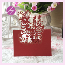 High quality OEM Wedding Table Place Name Cards Wedding Festive Lser Cut Red Sheep Design Table Seating Card for Guests ZK-91