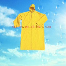 PL03 Outdoor yellow waterproof pvc/polyester/pvc long raincoat