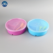 Custom Plastic Snack Bowl Spoon Fork Baby Feeding Bowl Set With 3 Compartments