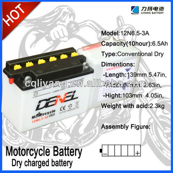 Moto Parts of Battery,Dry Charged 12v 6.5AH motorcycle battery with best quality
