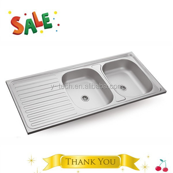 Restaurant kitchen design 2 bowl stainless steel sink with drainer double drainer double bowl kitchen sink YK1250D