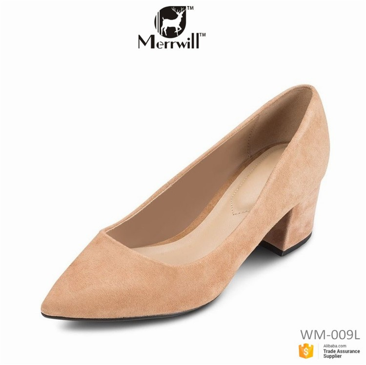Women Low Heels Pumps Suede Leather Ladies Shoes Hills