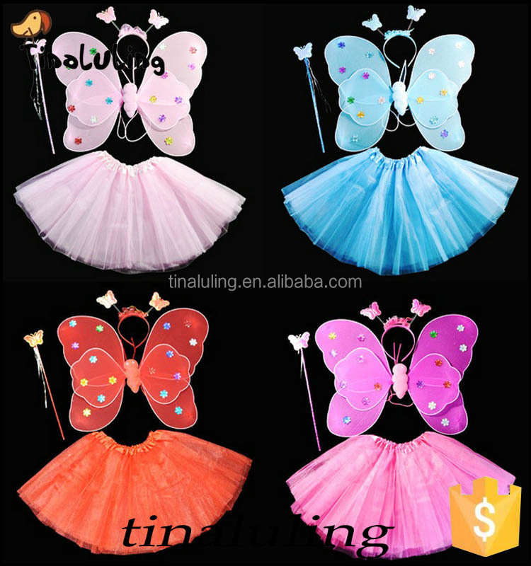girls fancy dress angel wings with tutus party wears new products