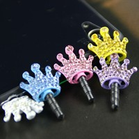 Stylish rhinestone 3.5mm dust plug in earphone jack accessory