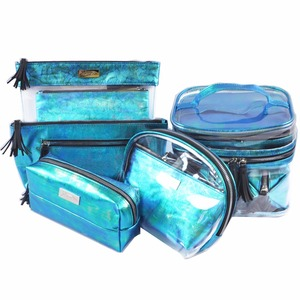 Holographic Dome Clear Cosmetic Bag Waterproof Travel Toiletry Bags Case Set with Zipper Vinyl PVC Makeup Pouch