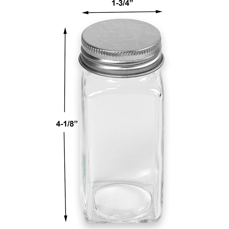 12 Square Glass Spice Bottles Spice Jars w/ label Set
