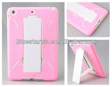 Hard case PC & Soft Gel Silicon Hybrid Protective Case Cover With Kick Stand For iPad Mini ~ White/Pink