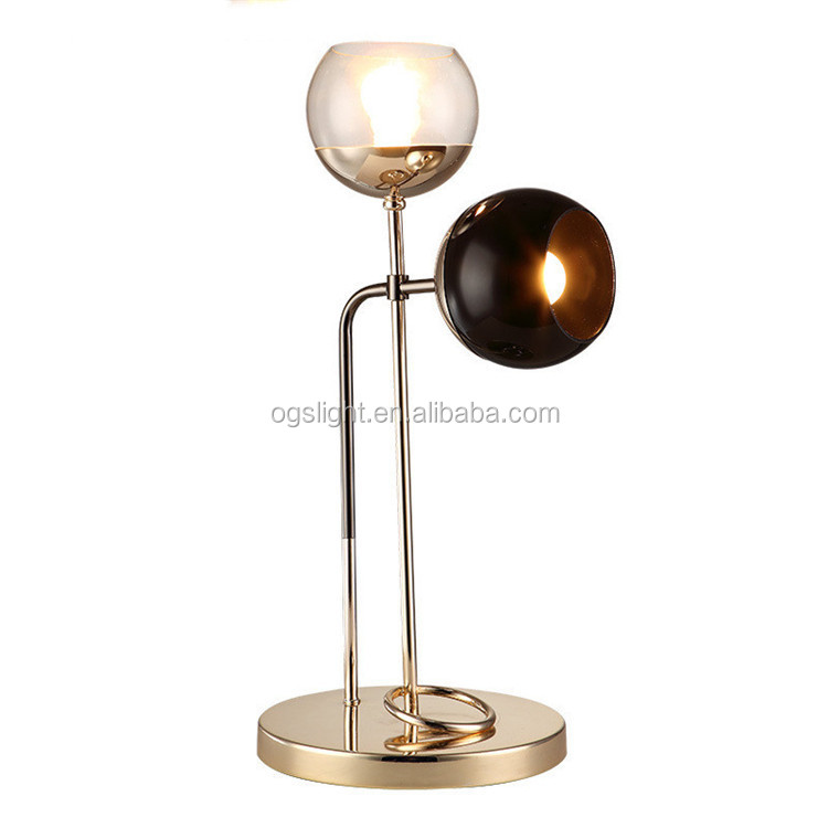 Modern unique design double head glass table lamp hotel bedside lamp