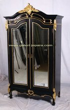 Solid Wood Armoire 2 Door with Mirrored - Bedroom set Furniture - Indonesia