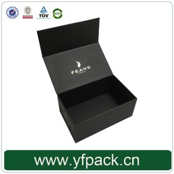 Recycle Handmade Rigid Foil Logo On Top Black Magnetic Gift Box