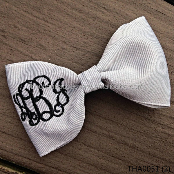 Gray Bowtie Monogram Hair Bow Grey Silver Black Preppy Tuxedo Hairbow Boutique 3 Three Initial Monogrammed Embroidered