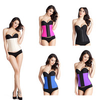 Five colors latex waist cincher underbust steel boned plus size waist training corset for women