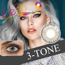 New design best fashion 3 tone yearly disposable color contact lenses