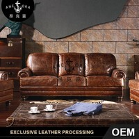 European style luxury classic vintage chesterfield leather sofa A109